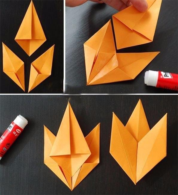Как сделать оригами из бумаги осенний лист 487